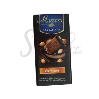 Maestro Sensations Chocolat Noir Extra Fin aux Noisettes 90g